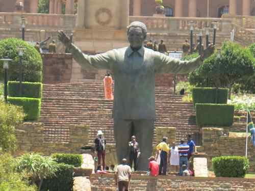 The Nelson Mandela statue was erected outside immediately after his death.