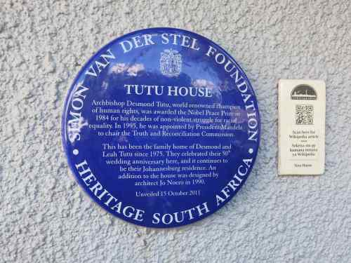 Here is Archbishop Tutu's blue plaque on the house he and his wife still live in.